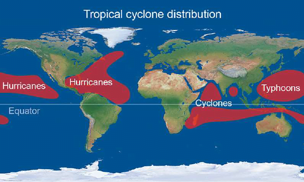 Distribution of cyclones in the tropics map