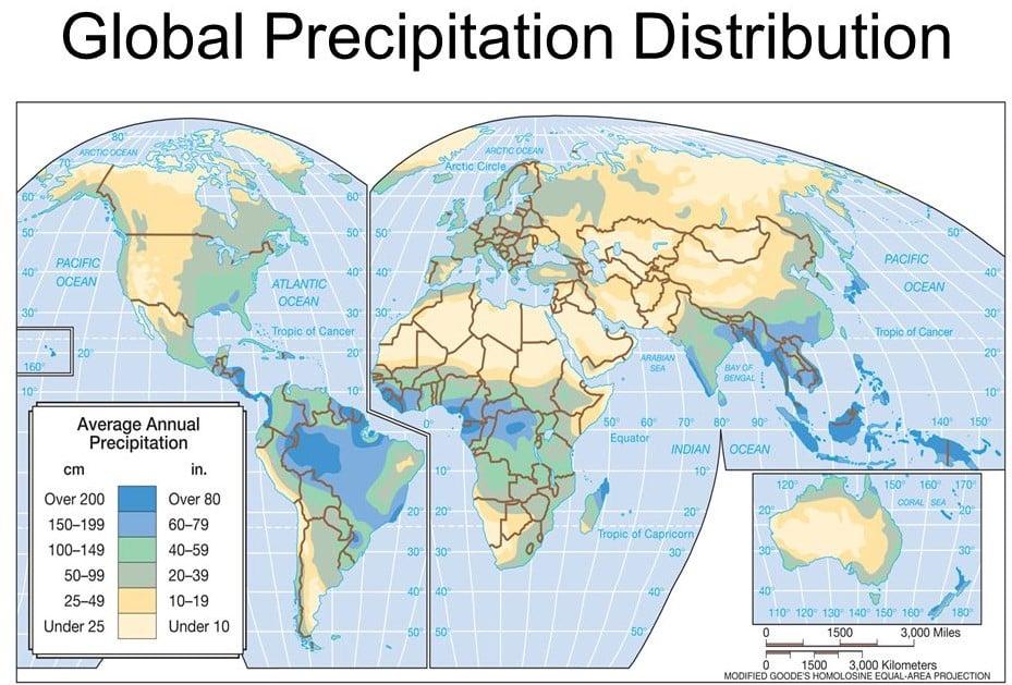 global distribution of precipitation and rainfall