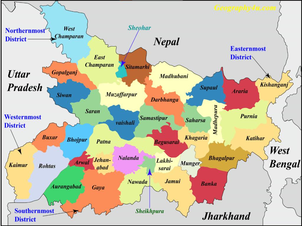 Bihar map- Geography of bihar