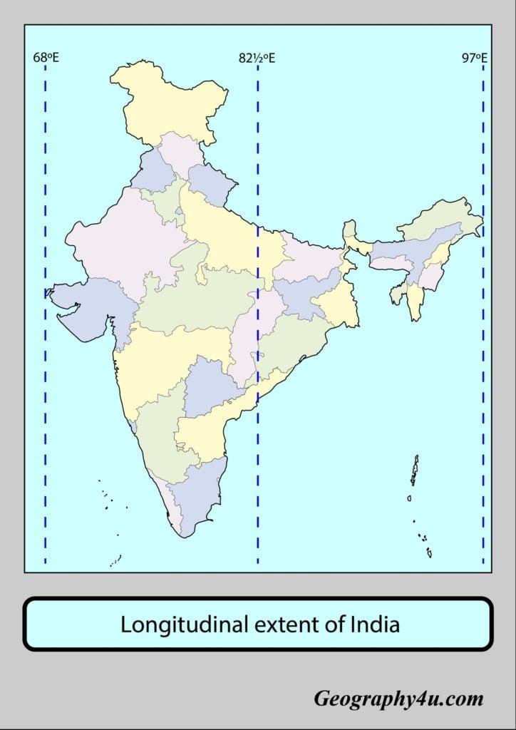 Longitudinal extent of india map
