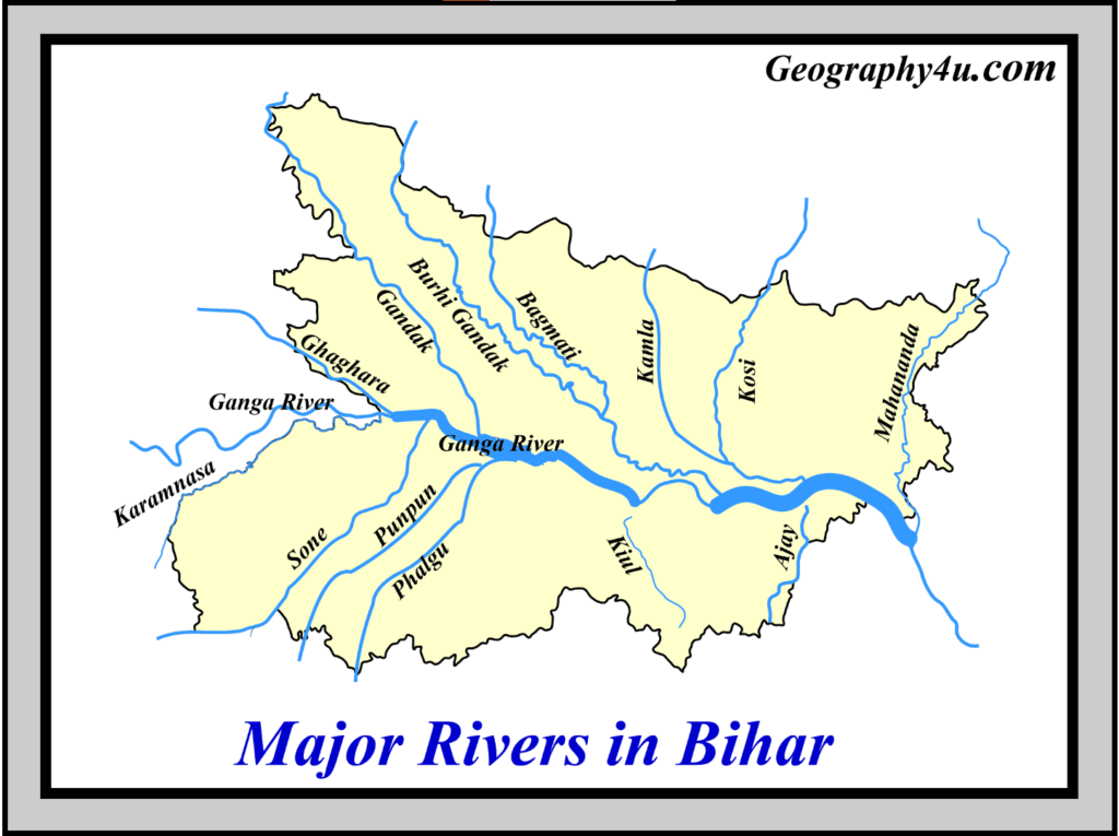 Major rivers of bihar map