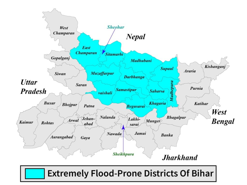 Extremely flood prone districts of Bihar map