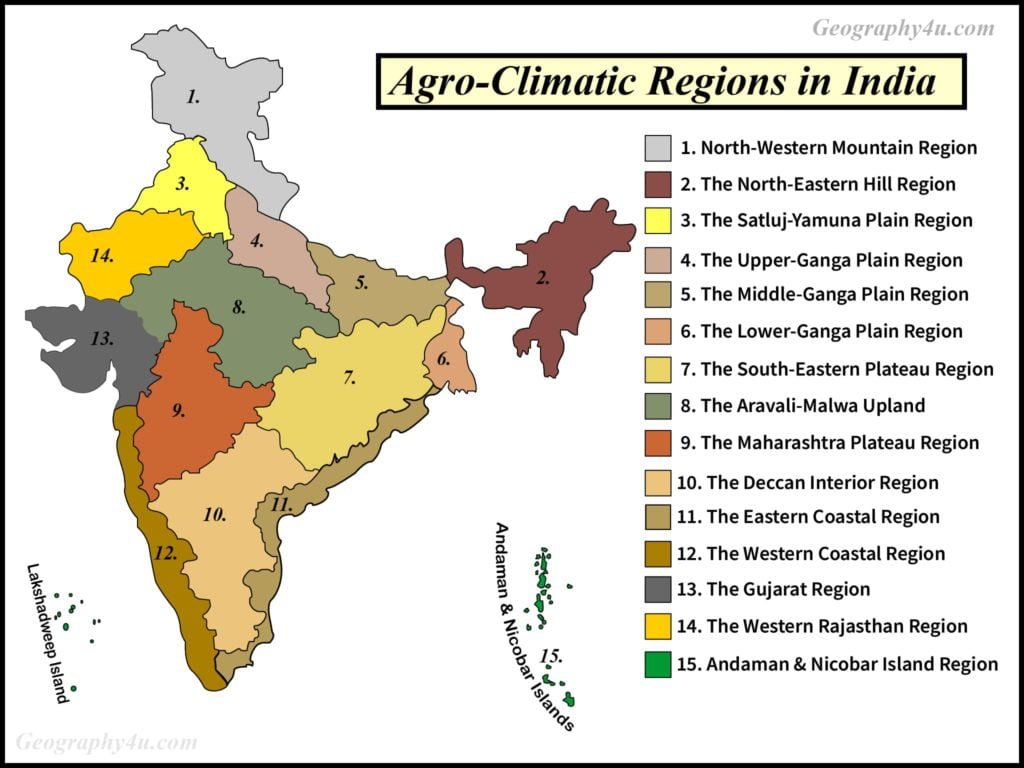 agro-climatic zones in india map