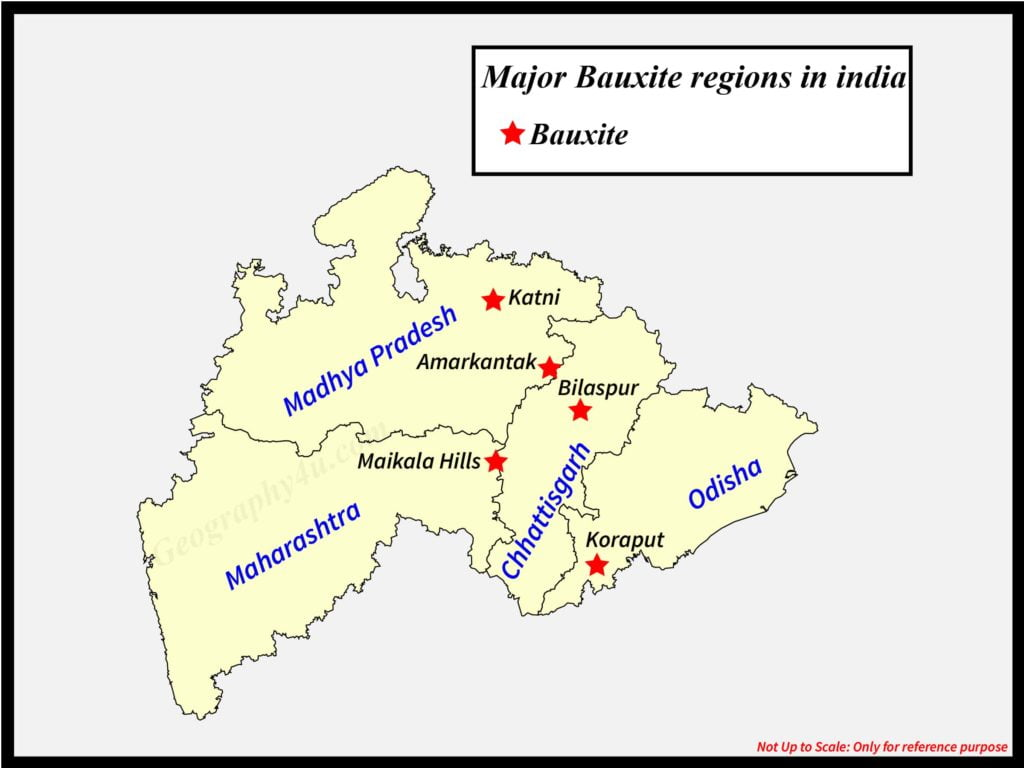 mineral resources of India map- bauxite